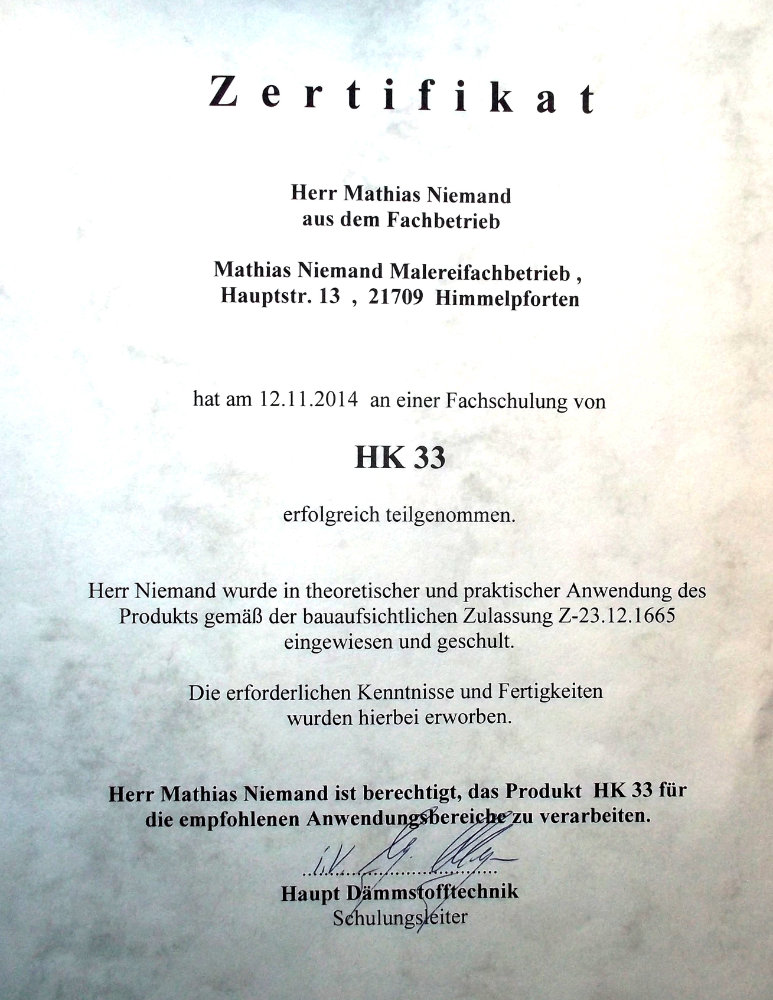 Zertifikat HK33